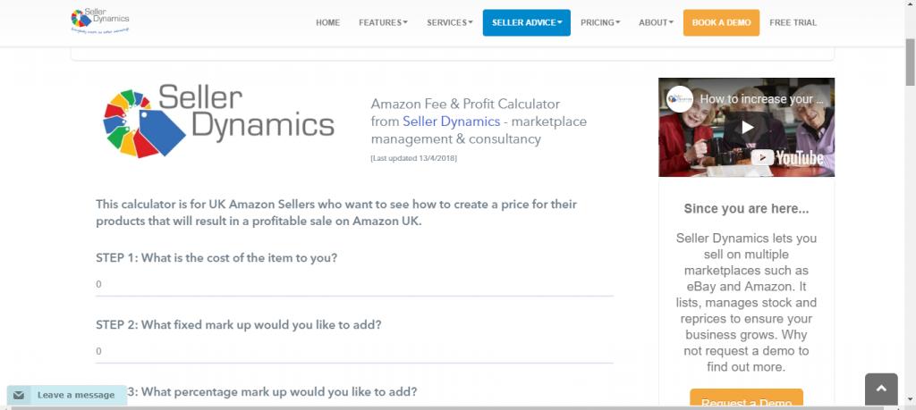 Sellerdynamics Amazon Profit Calculator