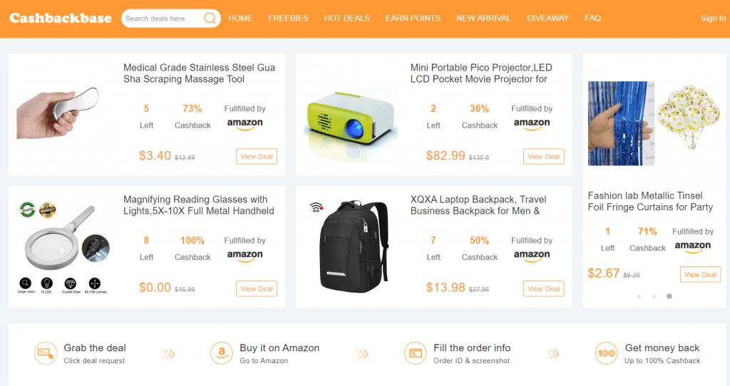 cashbackbase deal website homepage