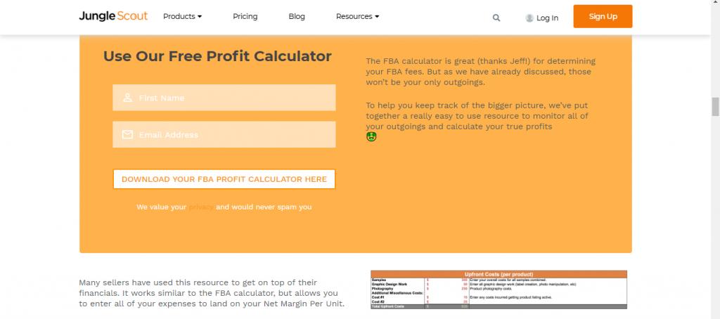 Jungle Scout FBA Profit Calculator