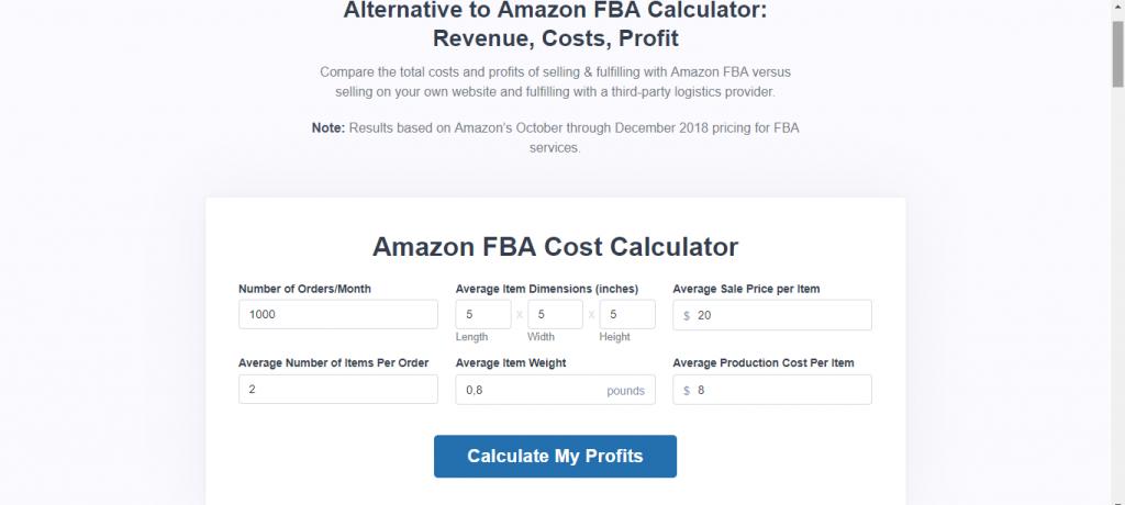 Shipbob Amazon FBA Cost Calculator