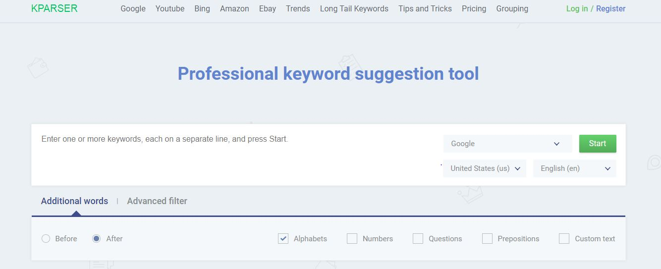 Kpraser keyword tool
