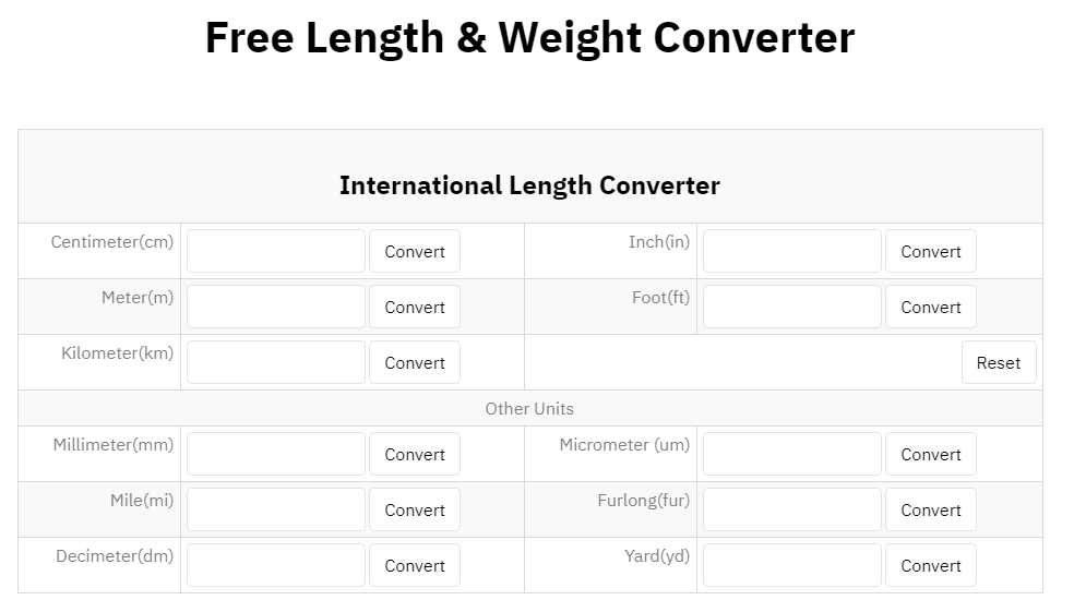 sellertour free length & weight converter