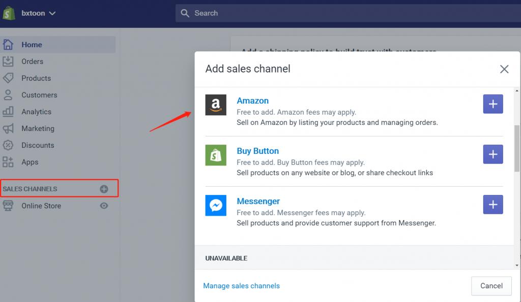 add Amazon Channel on Shopify