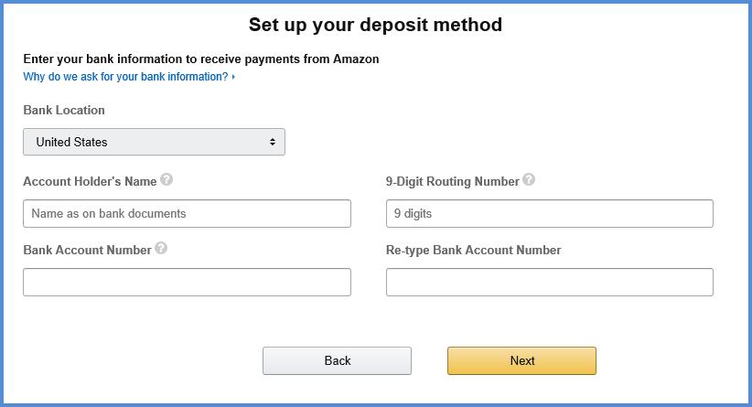 set up deposit method on Amazon